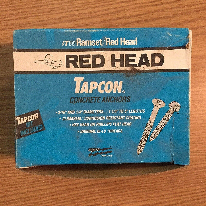 Red Head 1//4 x 3 3//4 Tapcon Concrete Anchors Phillips USA Made Box of 100