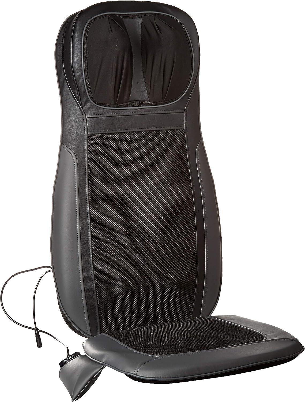 Daiwa Felicity Shogun Heated 3D Shiatsu Kneading & Tapping Back Neck Massage Seat Cushion for Chair Car with Vibration Memory Foam