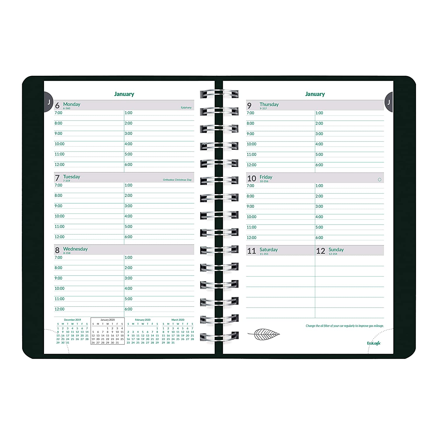 CB415W.BLK-20 Twin-Wire Black 8 x 5 inches Brownline EcoLogix 2020 Weekly Appointment Book