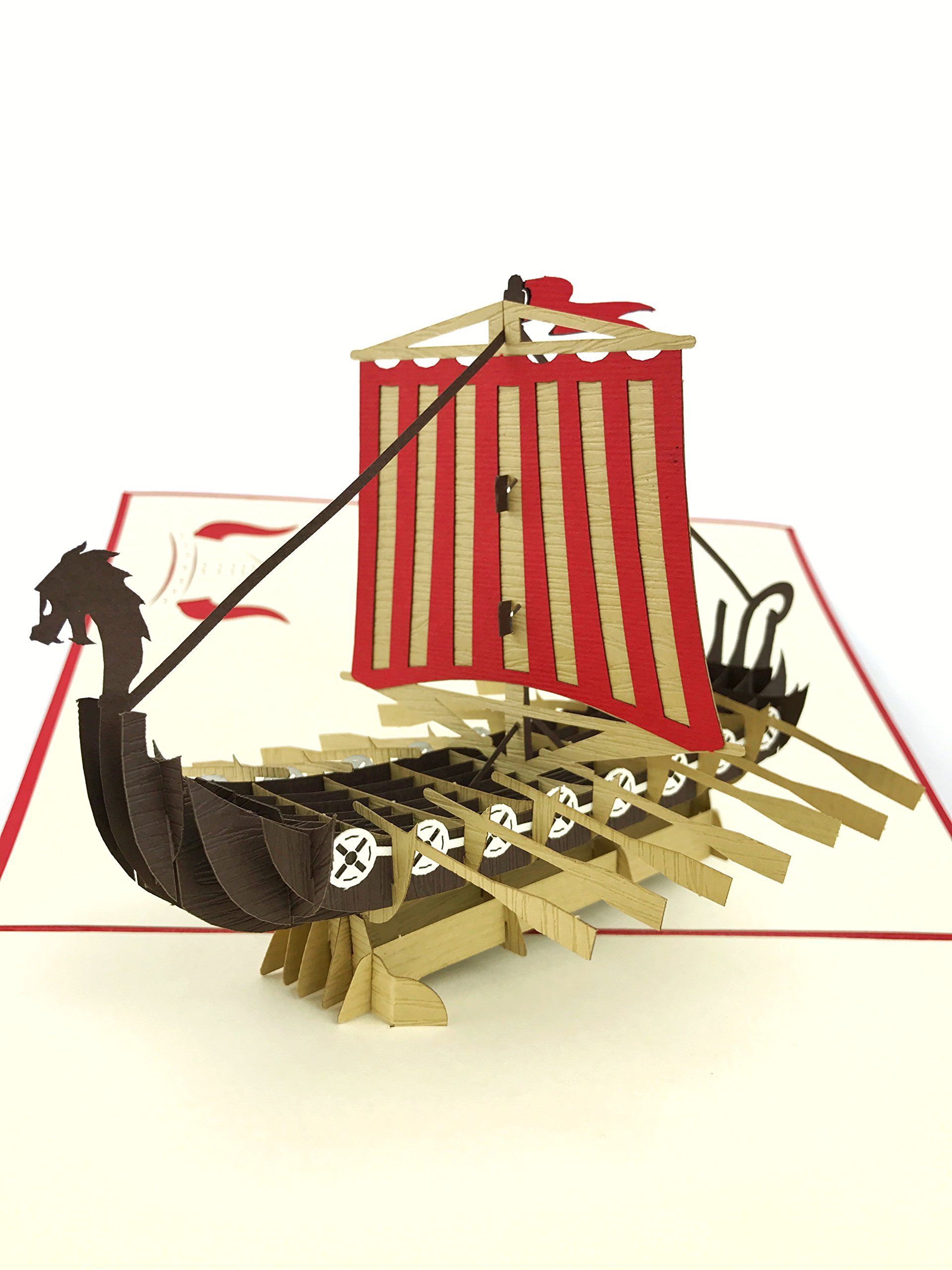 PopLife Colorful Viking Ship Pop Up Card for All Occasions - Happy Birthday, Congratulations, Retirement, Anniversary, Fathers Day - Travelers, Axe Warriors - Folds Flat for Mailing