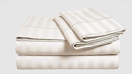 Chateau Home Hotel Collection Luxury - Juego de sábanas de 100% algodón egipcio, 500 hilos, 100 % algodón egipcio muy suave, diseño de rayas de damasco, hueco profundo: Amazon.es: Hogar