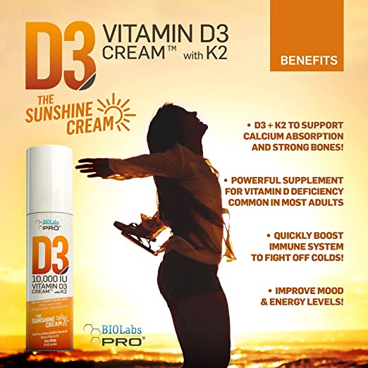 10,000 IU D3 Vitamin D Cream + Vitamin K2 - Professional Strength - Aloe  Vera, MSM, Coconut Oil,