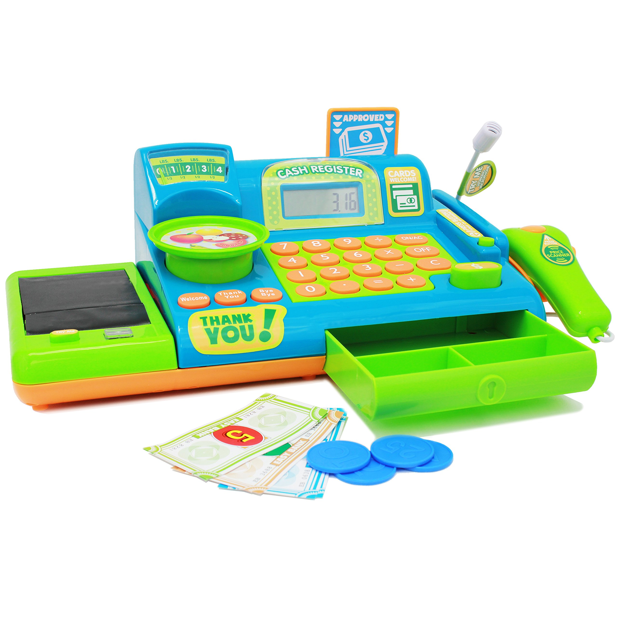 Boley Kids Toy Cash Register - Pretend Play Educational Toy Cash Register Electronic Sounds, Play Money, Grocery Toy More!