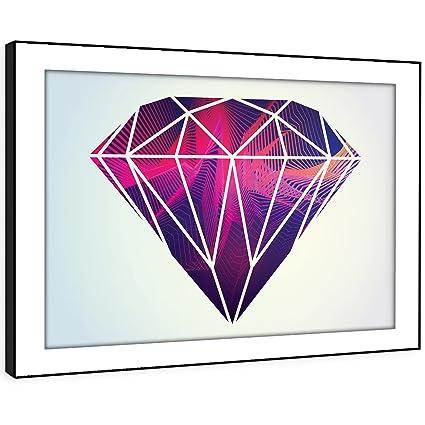 BFAB313c - Imagen enmarcada pared de impresión del arte - diamante rosa MINIAL moderno paisaje abstracto