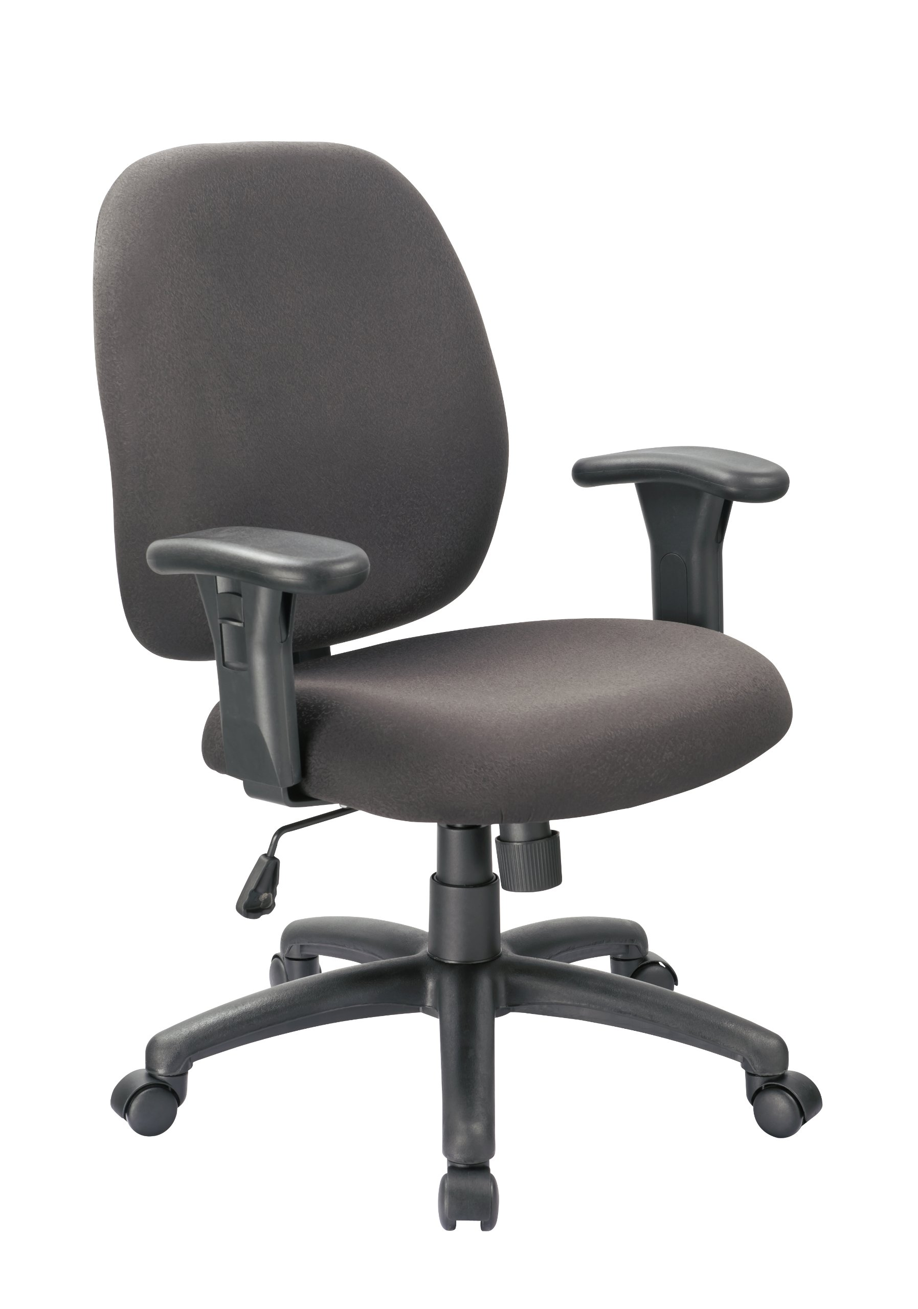 OFFICE FACTOR, Black Task Office Chair, Swivel Adjustable Arms Rest, Lumbar Support, Durable, Commercial Grade Fabric, 250 LBS WEIGHT CAPACITY