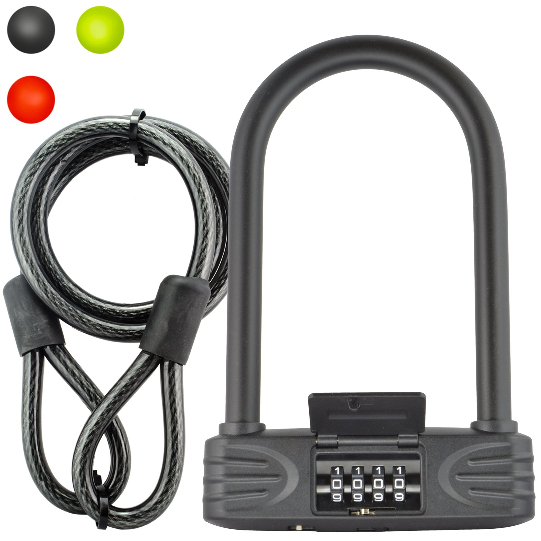 Lumintrail 16mm Heavy Duty 4-Digit Bicycle Bike Combination U-Lock with 4 ft Cable - Assorted Colors (Black) by Lumintrail
