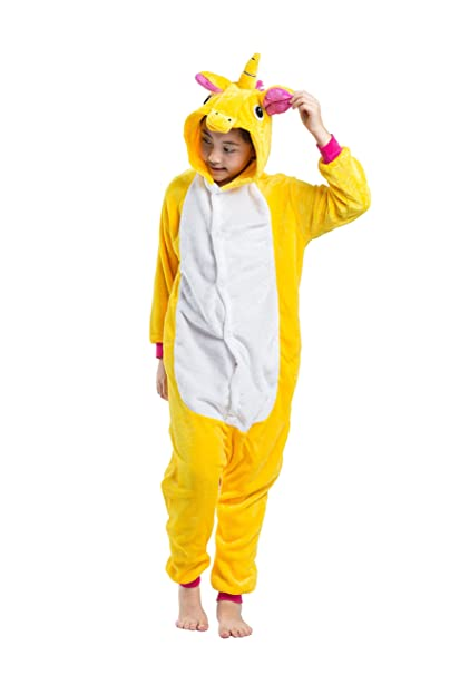 Hstyle Niños Sleepsuits De Dibujos Animados Caliente Pijamas De Franela De Halloween Kigurumi Mamelucos Unicornio Amarillo