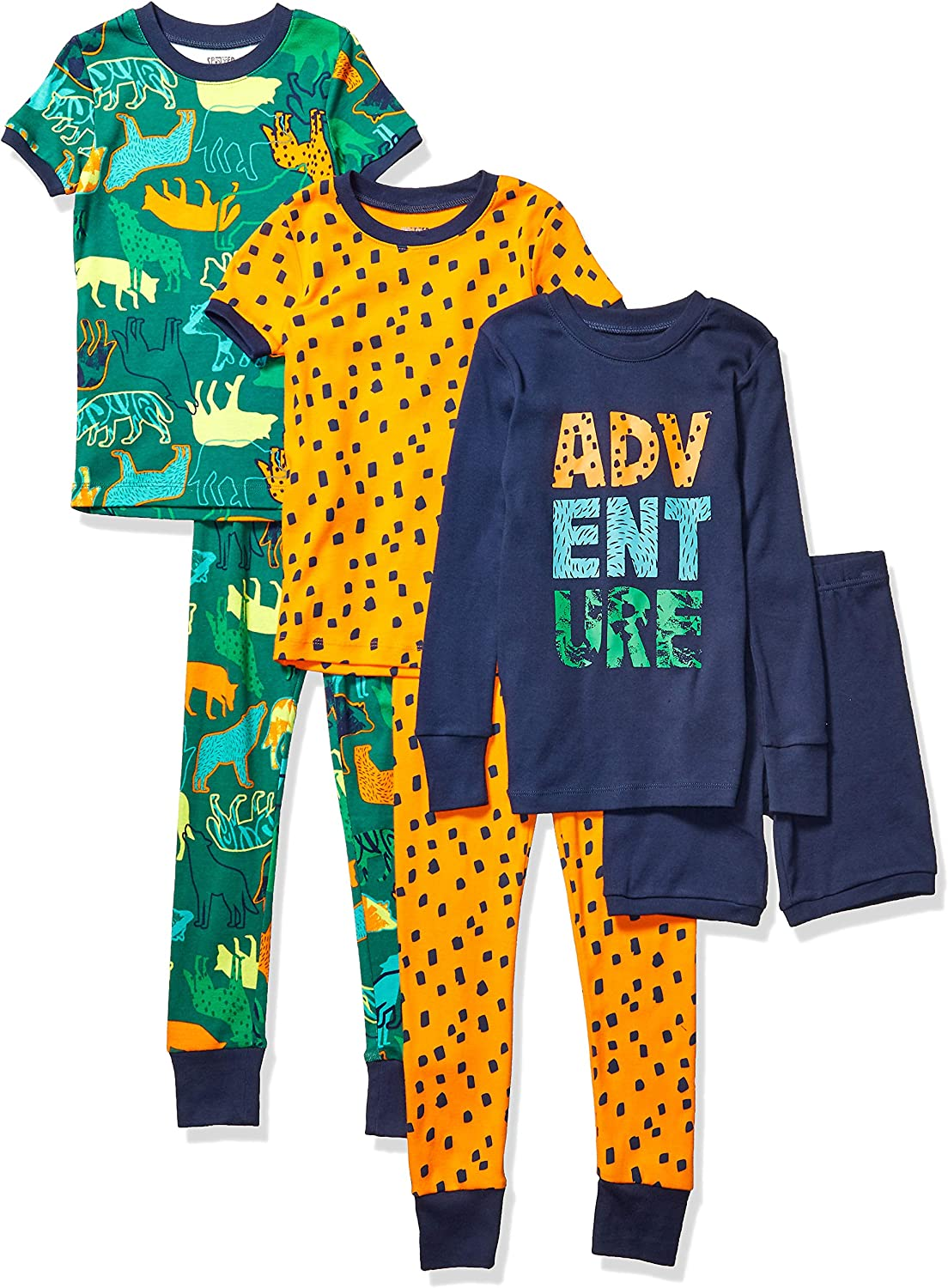 Marchio Amazon - Spotted Zebra 6-Piece Snug-Fit Cotton Pajama Set Unisex-Bimbi 0-24