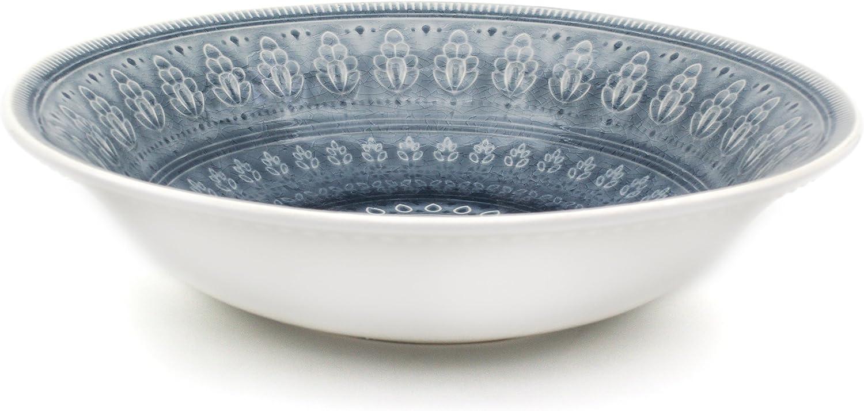 Euro Ceramica Fez Collection Ceramic Reactive Crackleglaze Round Serving Bowl, Teardrop Mandala Design, Gray