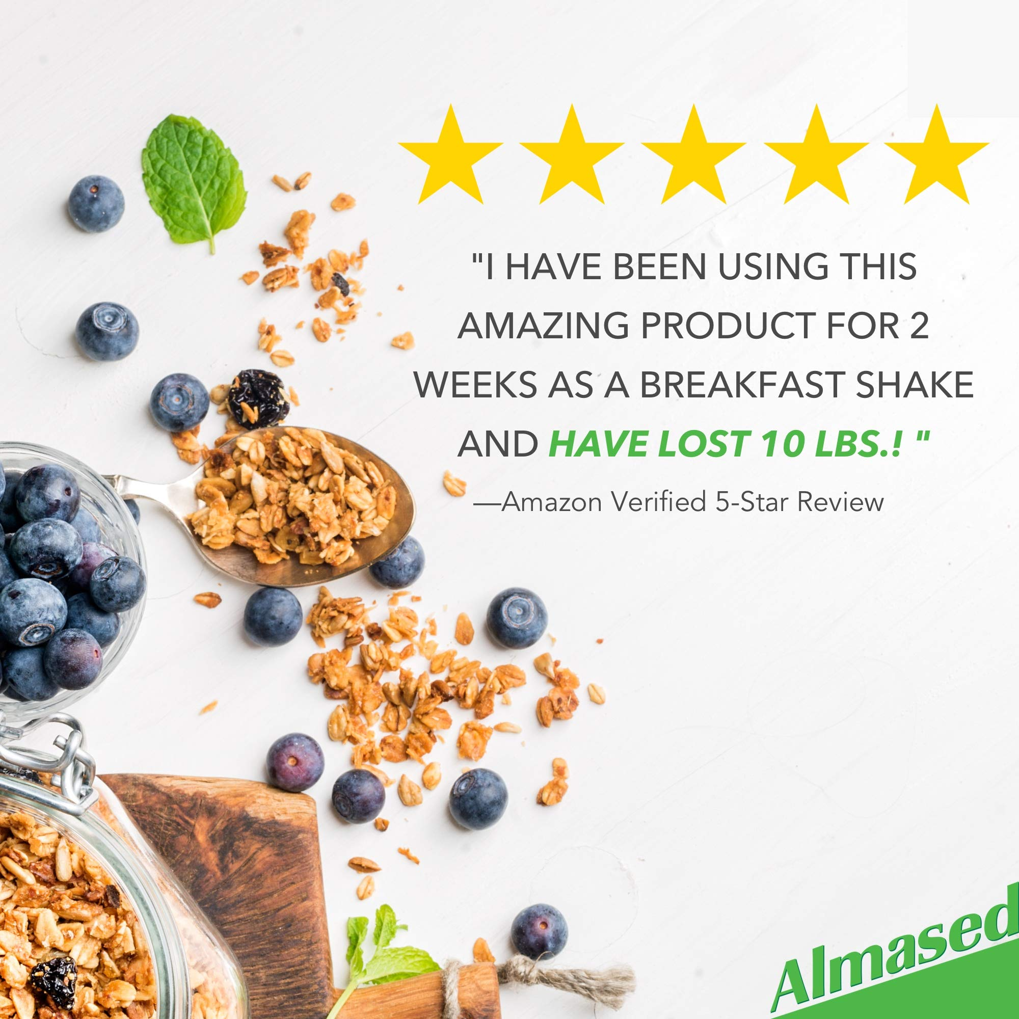 Almased Meal Replacement Shake (3 Pack) with Bonus Bamboo Spoon - 17.6 oz Powder - High Protein Weight Loss Drink, Fat Metabolism Booster - Vegetarian, Gluten Free - 30 Total Servings by Almased (Image #2)