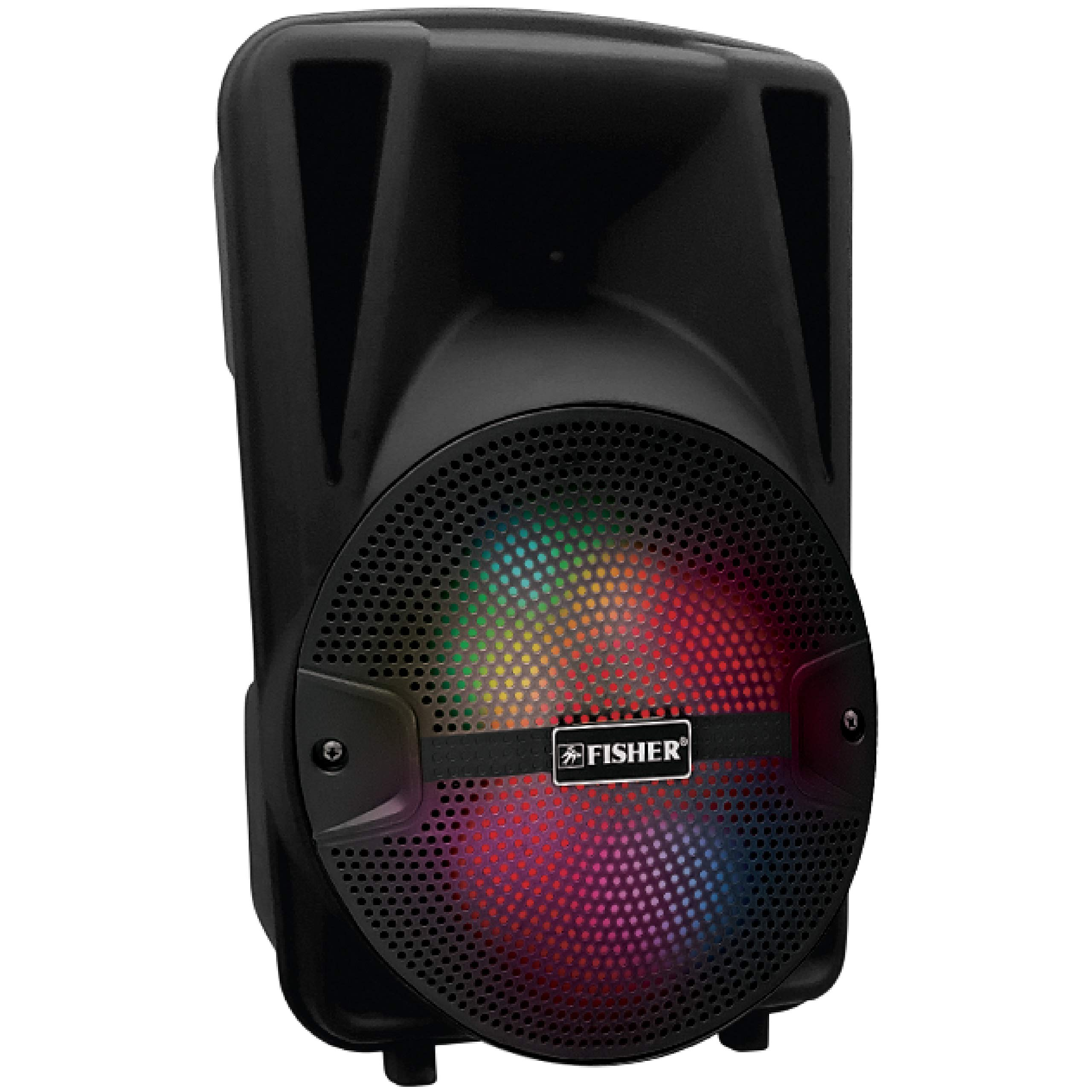Fisher FBX815K 8-Inch Wireless Portable Bluetooth Karaoke Speaker System with FM Radio, Music, and Loud Powered Bass for Conference, Parties, and Outdoor Use