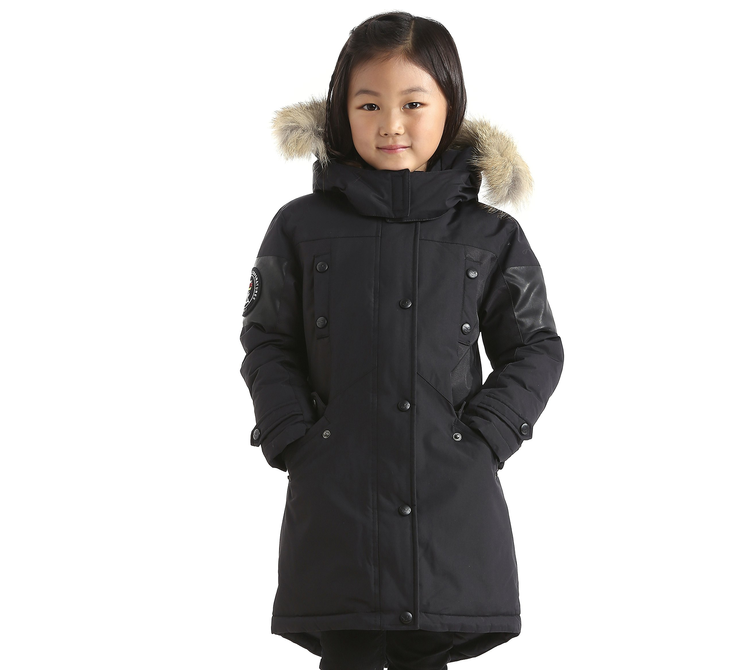 Triple F.A.T. Goose Embree Girls Down Jacket Parka with Real Coyote Fur (10, Black) by Triple F.A.T. Goose (Image #3)