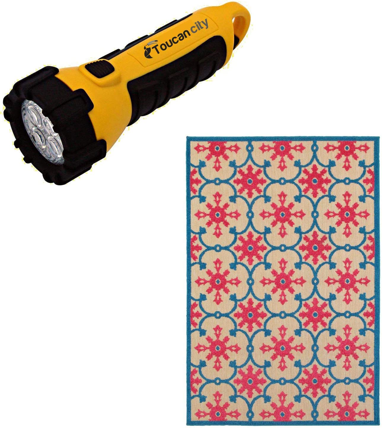 Toucan City LED Flashlight and Home Decorators Collection Lilo Red/Blue 5 ft. x 8 ft. Outdoor Area Rug 9905730110