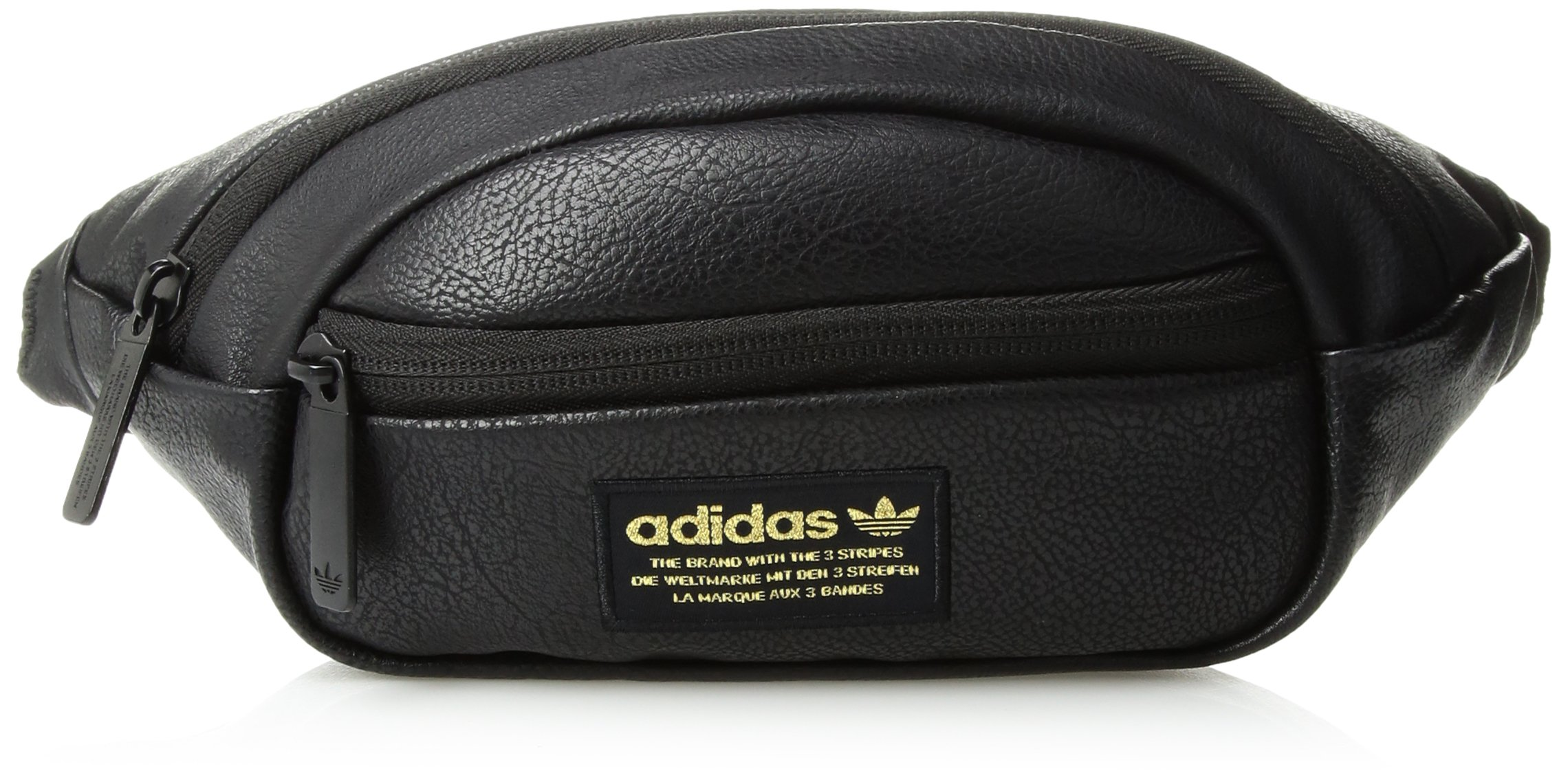 adidas Originals Unisex National Waist Pack, Black Pu Leather/Gold, ONE SIZE by adidas Originals