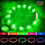 LED Dog Collar,USB Rechargeable Glowing Dog Collars, Light Up Collar Improved Pet Safety &Visibility at Night, 3 Flashing Modes,Water-Resistant Lighted Dog Collars Fits For Small Medium Large Dogs