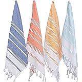 "(Set of 4) Unique Hand Face Towel Set Turkish Cotton 20""x31"" Pestemal Peshtemal Fouta Towel Kitchen Bath Spa Pool Massage Sau"