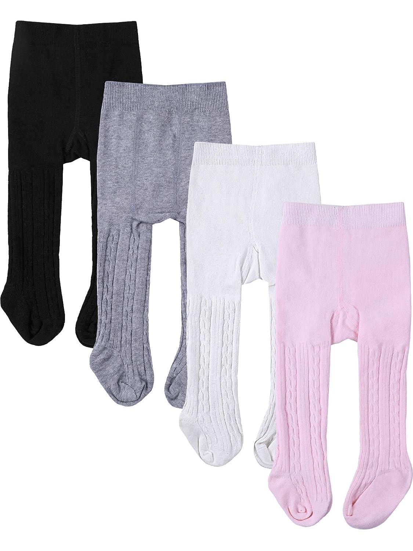 4 Pezzi Neonati Collant Bambino Scaldamuscoli a Colori Solidi Legging Inverno per Bambini e Bambine, 4 Colori