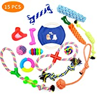 QOZY Dog Toy 15 Pack, Puppy Chew Toys, Pet Teething Play for Small Medium Large Dogs, IQ Treat Ball Floss Ropes Squeaky…