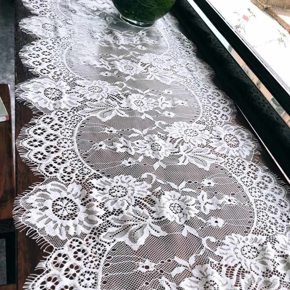 36 x 300 cm elegante bianco con motivo floreale in pizzo macram/è banchetti feste tovaglia rettangolare per matrimoni sala da pranzo Runner da tavola in stile europeo cucina