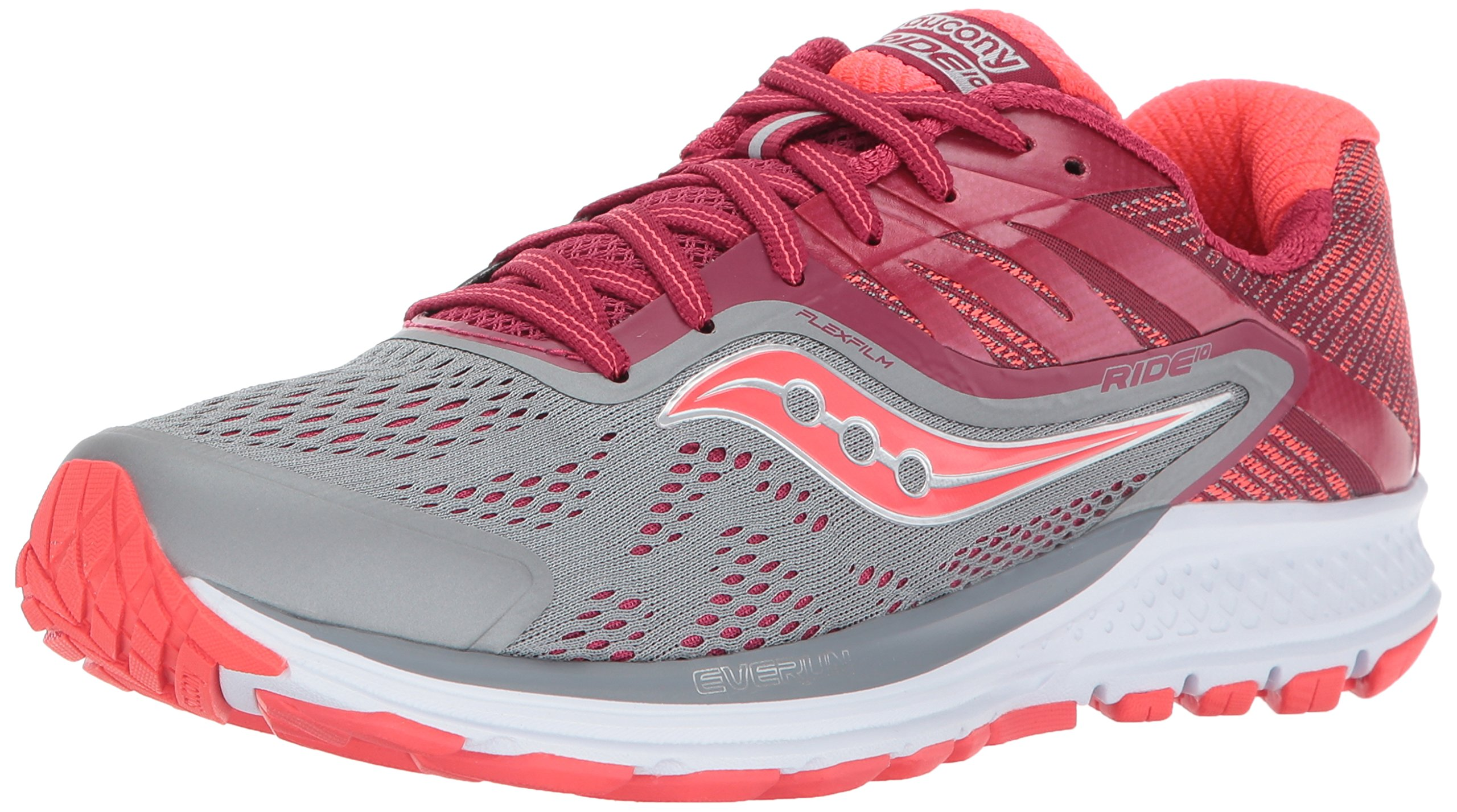 Saucony Women's Ride 10 Running Shoe, Grey Berry, 8.5 Medium US