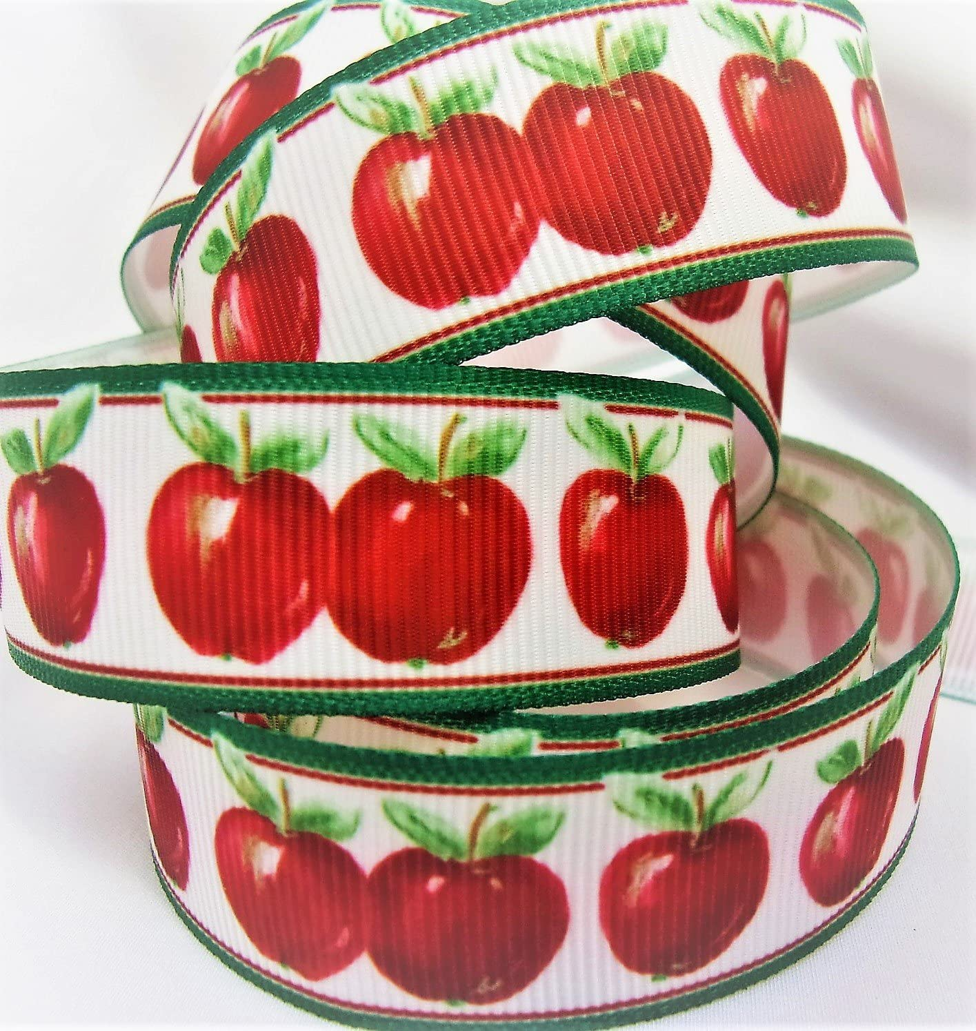 "Grosgrain Ribbon Red Apple Print - 7/8"" Wide - 10 Yards - for Hair Bows and Crafts!"