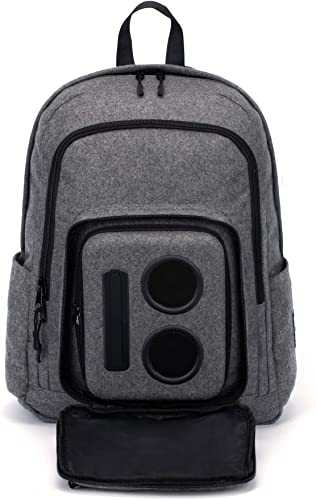 Bluetooth Speaker Backpack with 20-Watt Speakers Subwoofer for Parties Festivals Beach School. Rechargeable, Works with iPhone Android Gray, 2020 Edition