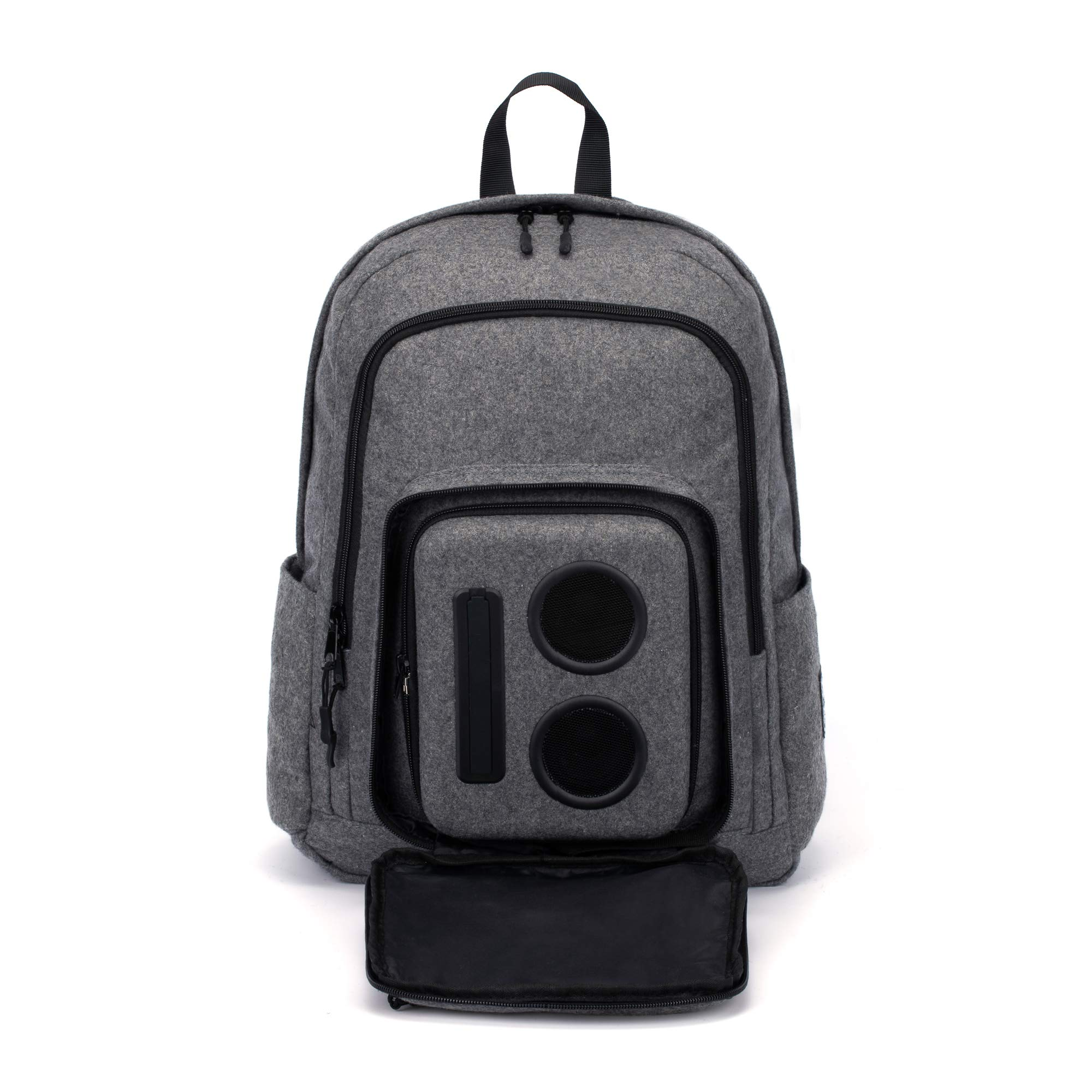 Bluetooth Speaker Backpack with 15-Watt Speakers & Subwoofer for Parties/Festivals/Beach/School. Rechargeable, Works with iPhone & Android (Gray, 2019 Edition) by Super Real Business