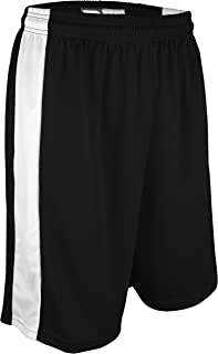 "product image for PT-6939-CB Men's and Women's Performance Dry Fit 9"" Short with White Side Panel-Made with Moisture Management and Odor Defense (Medium, Black/White)"