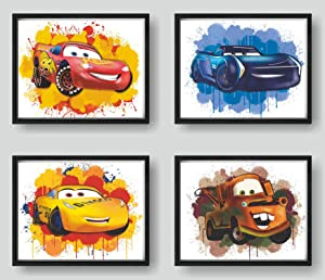 Print A To Z - Cars Movie Poster, Cars Watercolor Wall Decor Prints, Lightning McQueen Poster, UNFRAMED(8