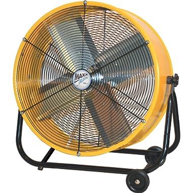 MaxxAir BF24TFYELUPS 24-Inch High Velocity Drum Fan, Two-Speed Yellow Shop