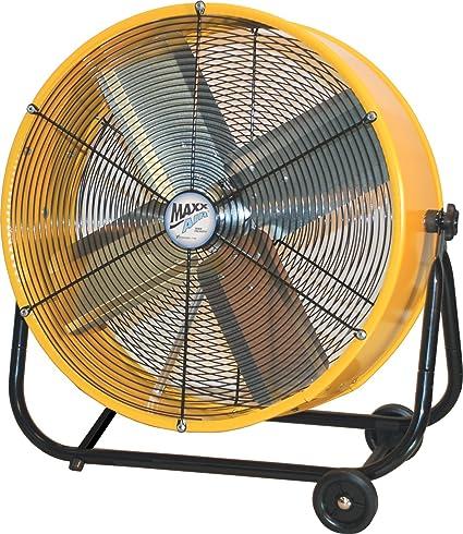 amazon com: maxxair bf24tfyelups 24-inch high velocity drum fan, two-speed,  yellow shop: home & kitchen