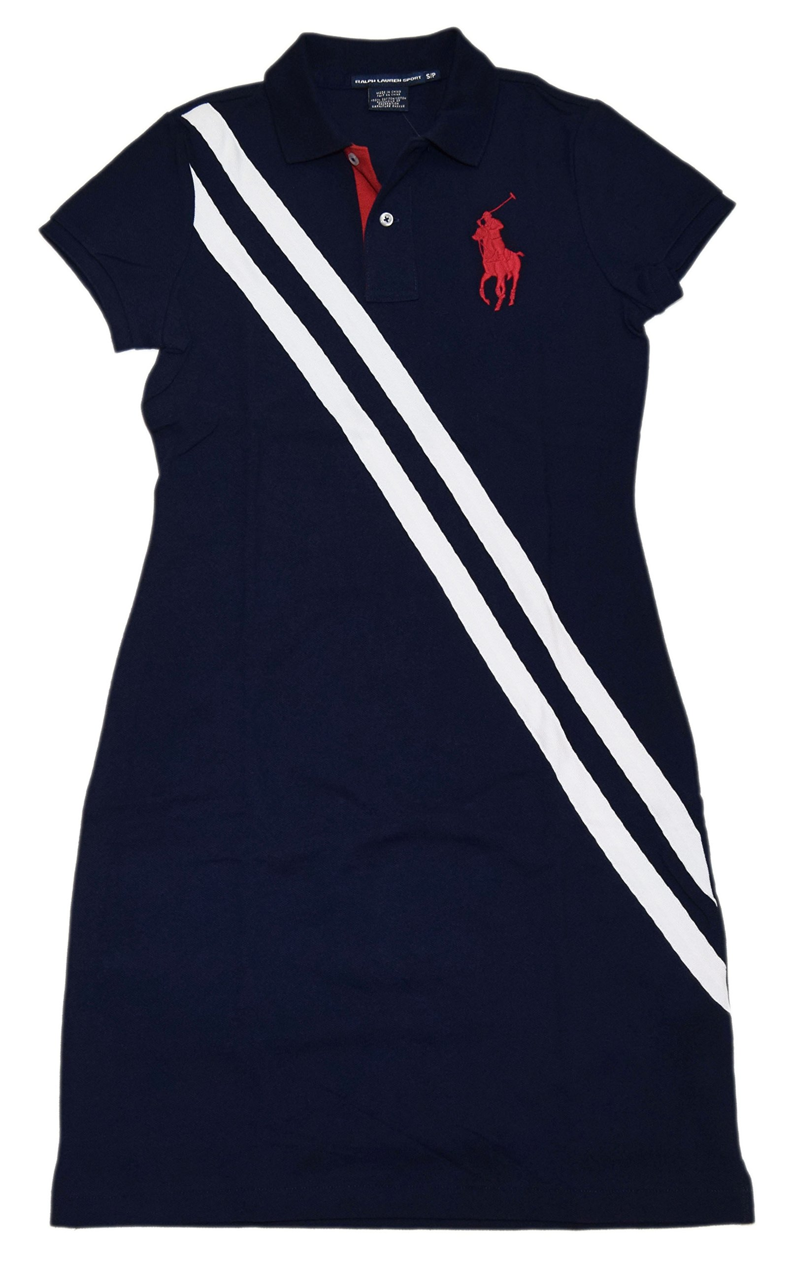 Polo Ralph Lauren Sport Womens Big Pony Tennis Dress Mesh Shirt Navy Red Small