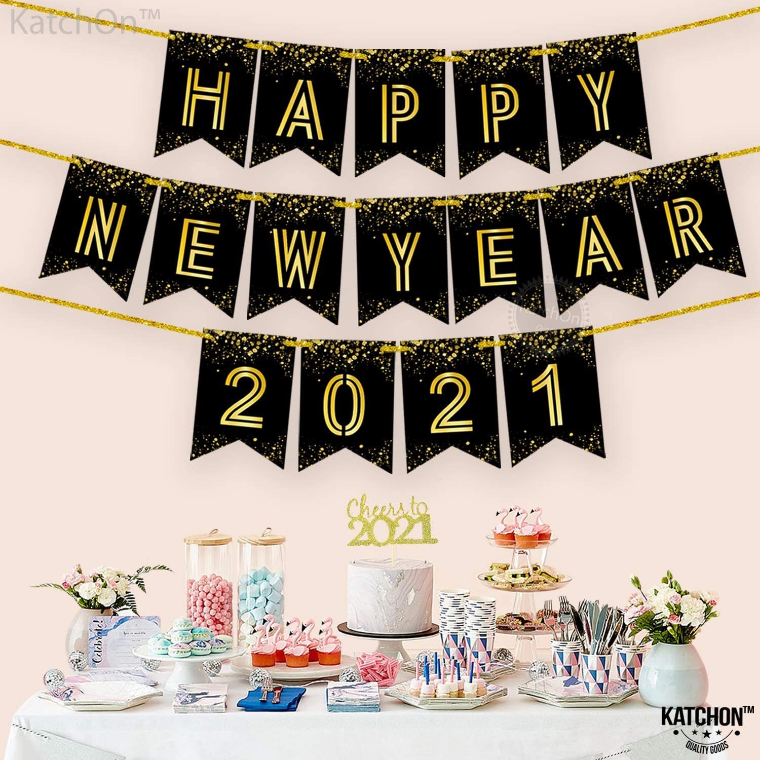 Large Happy New Year Sign for Happy New Years Eve Decorations No DIY Required Black and Gold Backdrop Decor for New Years Eve Party Supplies 2021 Shiny Foil Printed Happy New Year Banner 2021