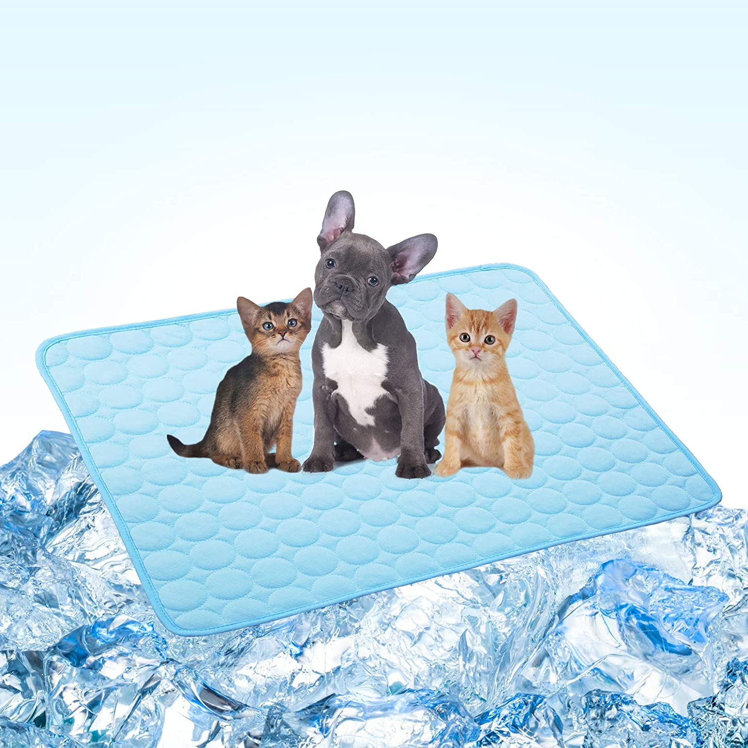 Dog Bed Mats Cat Bed Mats Pet Cooling Mats Dogs Cats Cooling Pad Cool Self Cooling Mat Pad for Kennels,Crates,Beds Avoid Overheating No Need to Freeze (28x40''/70x100cm, Blue)