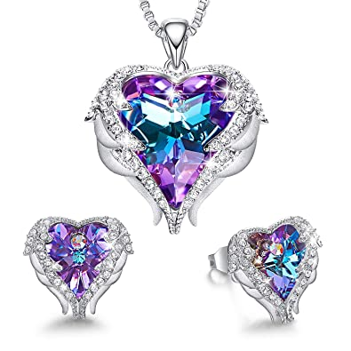 75ae19586 CDE Jewelry Set for Women Angel Wing Embellished with Crystals from  Swarovski Pendant Necklace Heart of