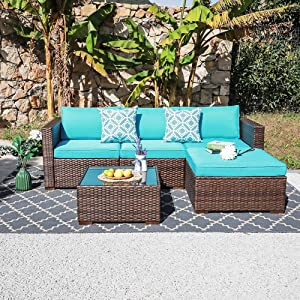 OC Orange-Casual Outdoor Sofa Sectional Set Patio Furniture Sets All-Weather Brown PE Wicker with Turquoise Cushion and Coffee Table Fits for Porch, Backyard, Poolside (5 Pieces)