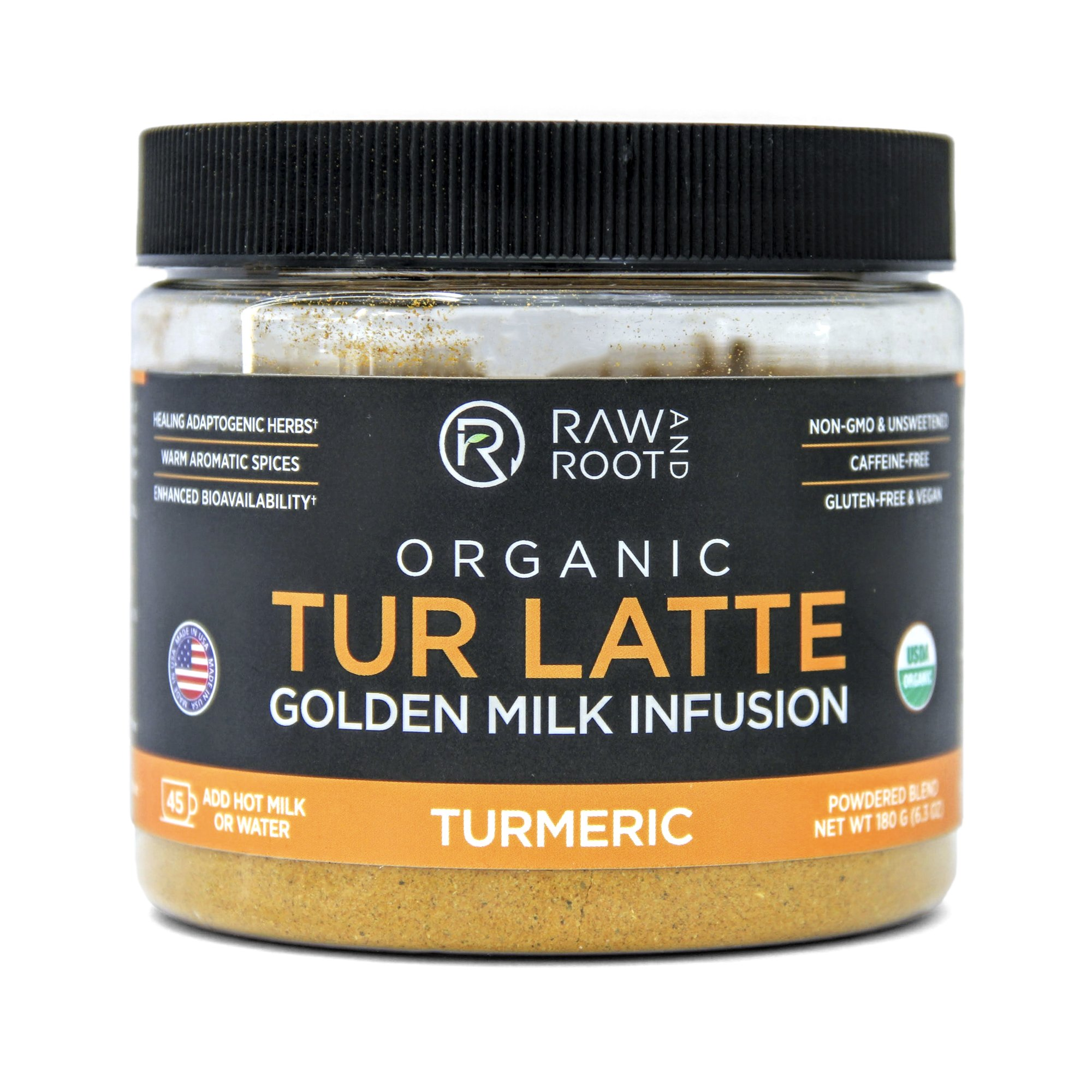 TUR LATTE - USDA Certified Organic Turmeric Latte Mix - 45 servings (6.3 oz) - by RAW AND ROOT - Makes Turmeric Golden Milk - Anti-Inflammatory, USDA Organic, Non GMO, Vegan, Gluten-free, Unsweetened