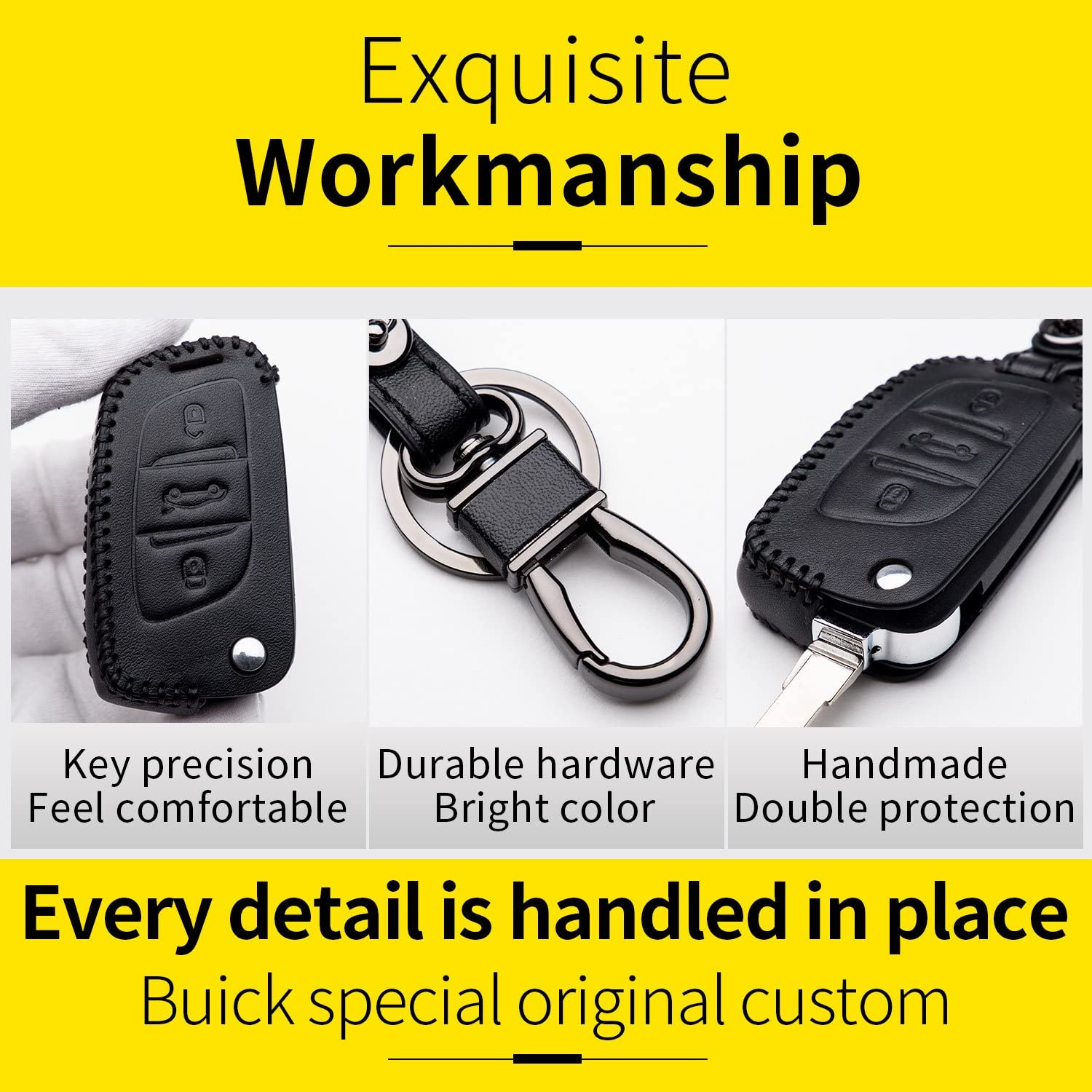 Cover Shell Fob Leather Case with Keyring for Key Peugeot 207 307 407 308 Citroen C1 C2 C3 C4 Key 3 Buttons Protection Remote Control Car