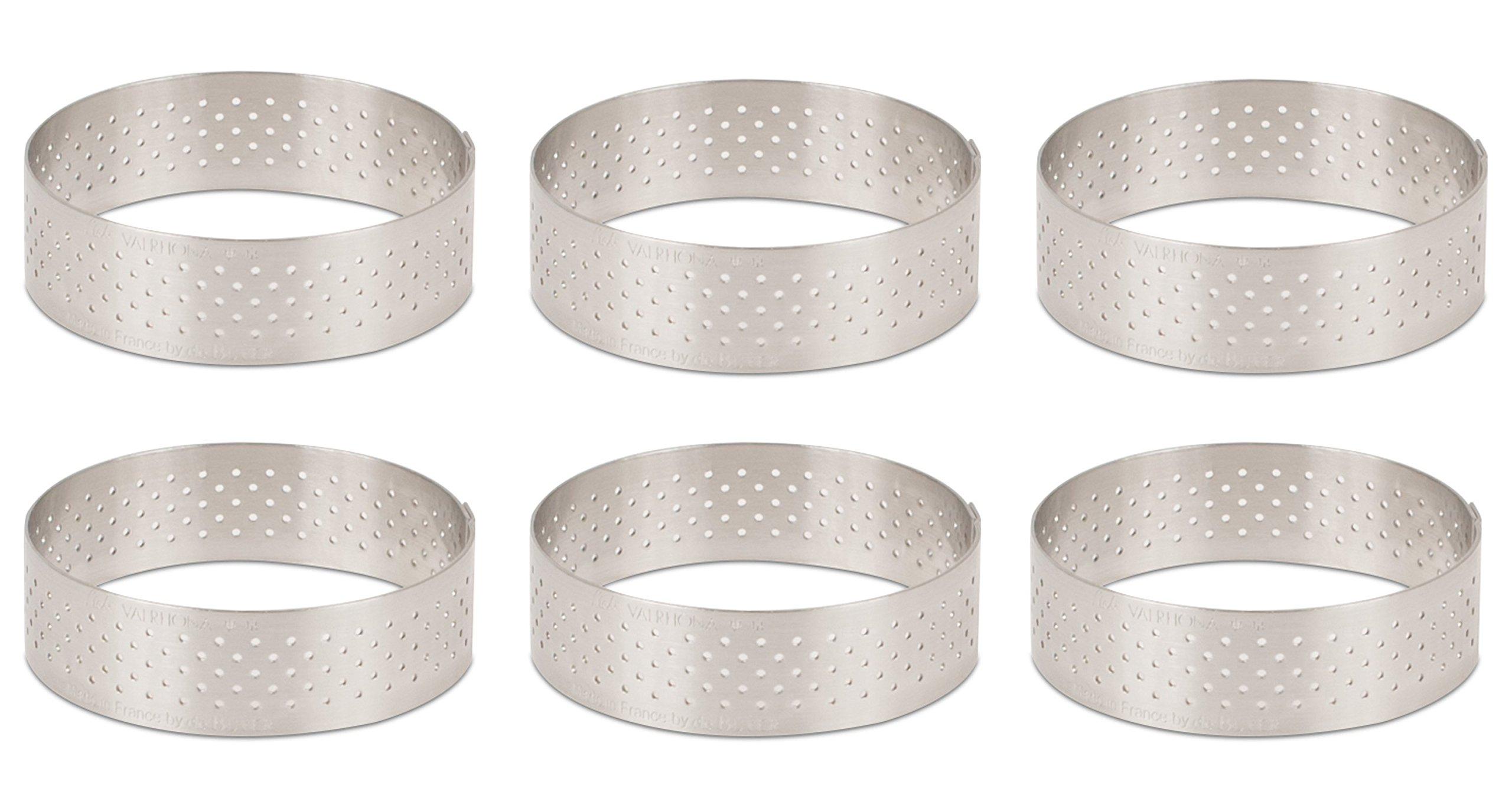 DeBuyer Valrhona Perforated Tart Ring - 2.25 inch Diameter, Set of 6 units