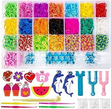 ZWOOS Caja Pulseras Gomas 4400 DIY Gomas para Hacer Pulseras Collar Herramienta de Tejer Juguetes Kit para niños: Amazon.es: Juguetes y juegos