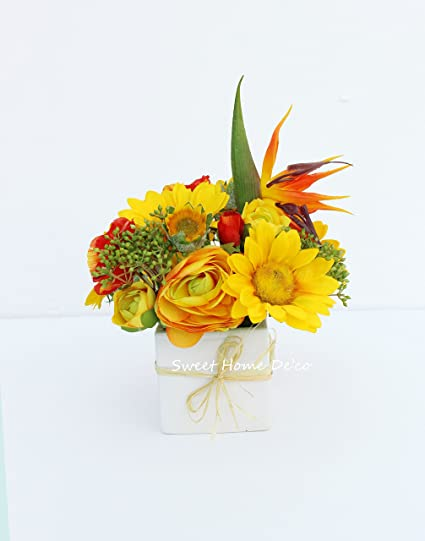 bda71050f68 Sweet Home Deco 12''T Silk Ranunculus Bird of Paradise Poppy Sunflower Mixed  Floral
