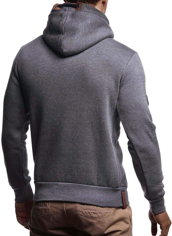 LEIF NELSON Herren Pullover-Hoodie Schalkragen M/änner Pulli Slim Fit LN8240 Moderner Sweatshirt-Kapuzenpullover