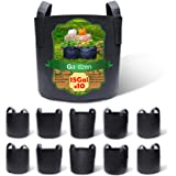 Gardzen 10-Pack 15 Gallon Grow Bags, Aeration Fabric Pots with Handles