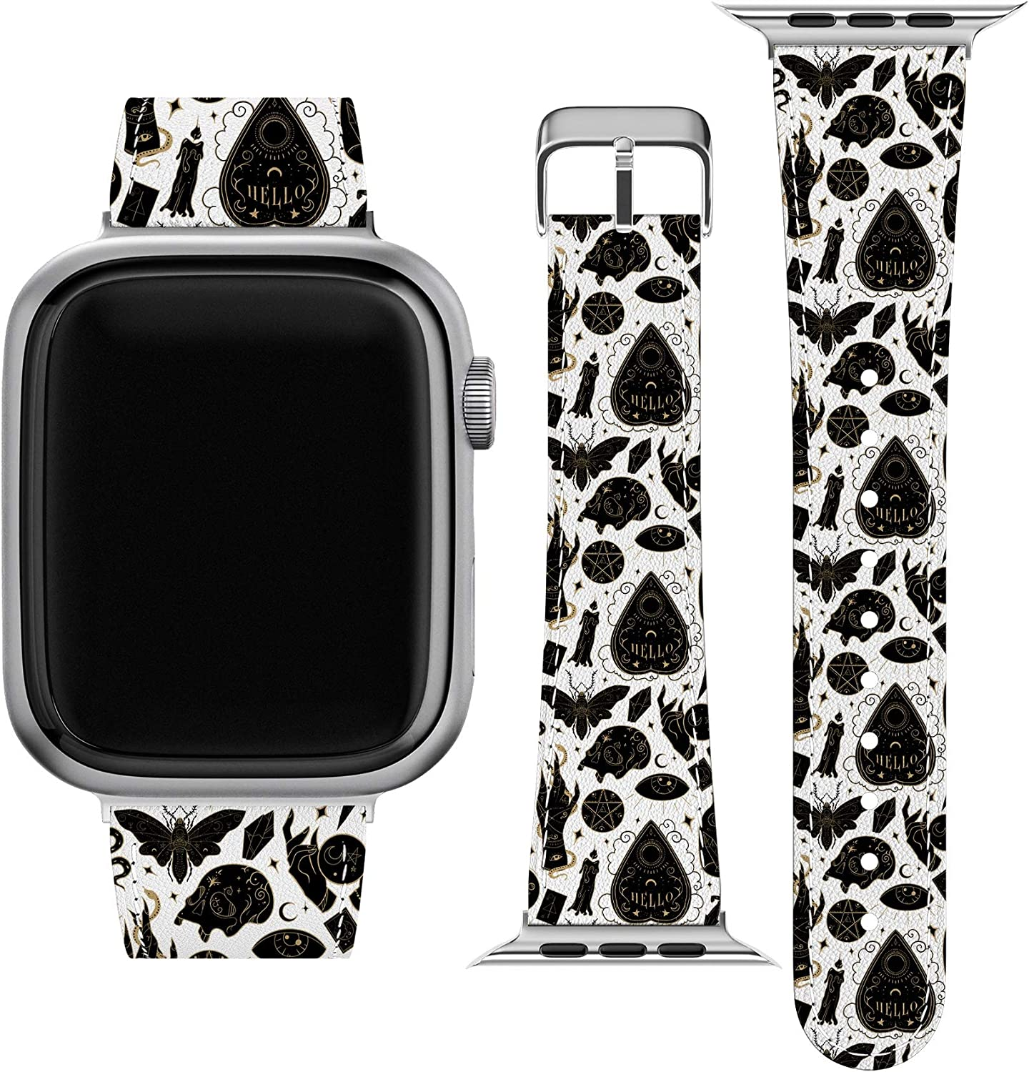 Lex Altern Band Compatible with Apple Watch Series 6 SE 5 4 3 2 1 38mm 40mm 42mm 44mm Magic Mystical Witchcraft Ouija Occult Replacement Strap for iWatch Cute Vegan Leather Print Thin Durable wh056