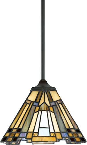 Quoizel TFIK1508VA Inglenook Tiffany Mini Pendant Lighting, 1-Light, 100 Watts, Valiant Bronze 7 H x 8 W