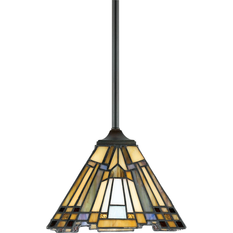 "Quoizel TFIK1508VA Inglenook Tiffany Mini Pendant Lighting, 1-Light, 100 Watts, Valiant Bronze (7"" H x 8"" W)"