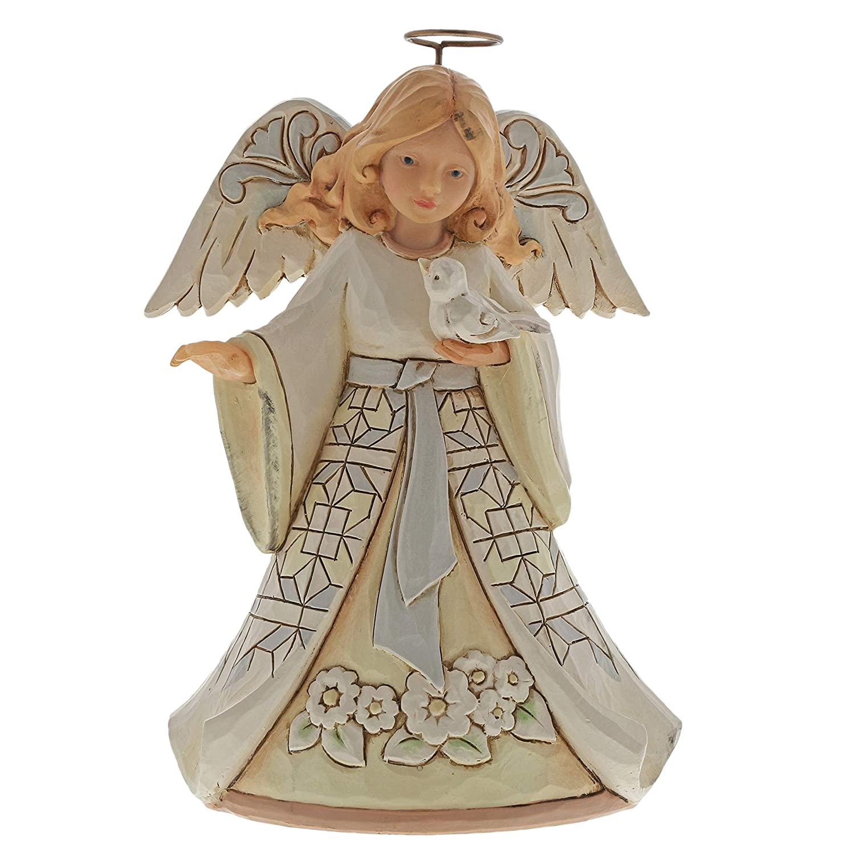 "Enesco Jim Shore White Woodland Angel With Bird Pint Sized 5.5"" 6004764"