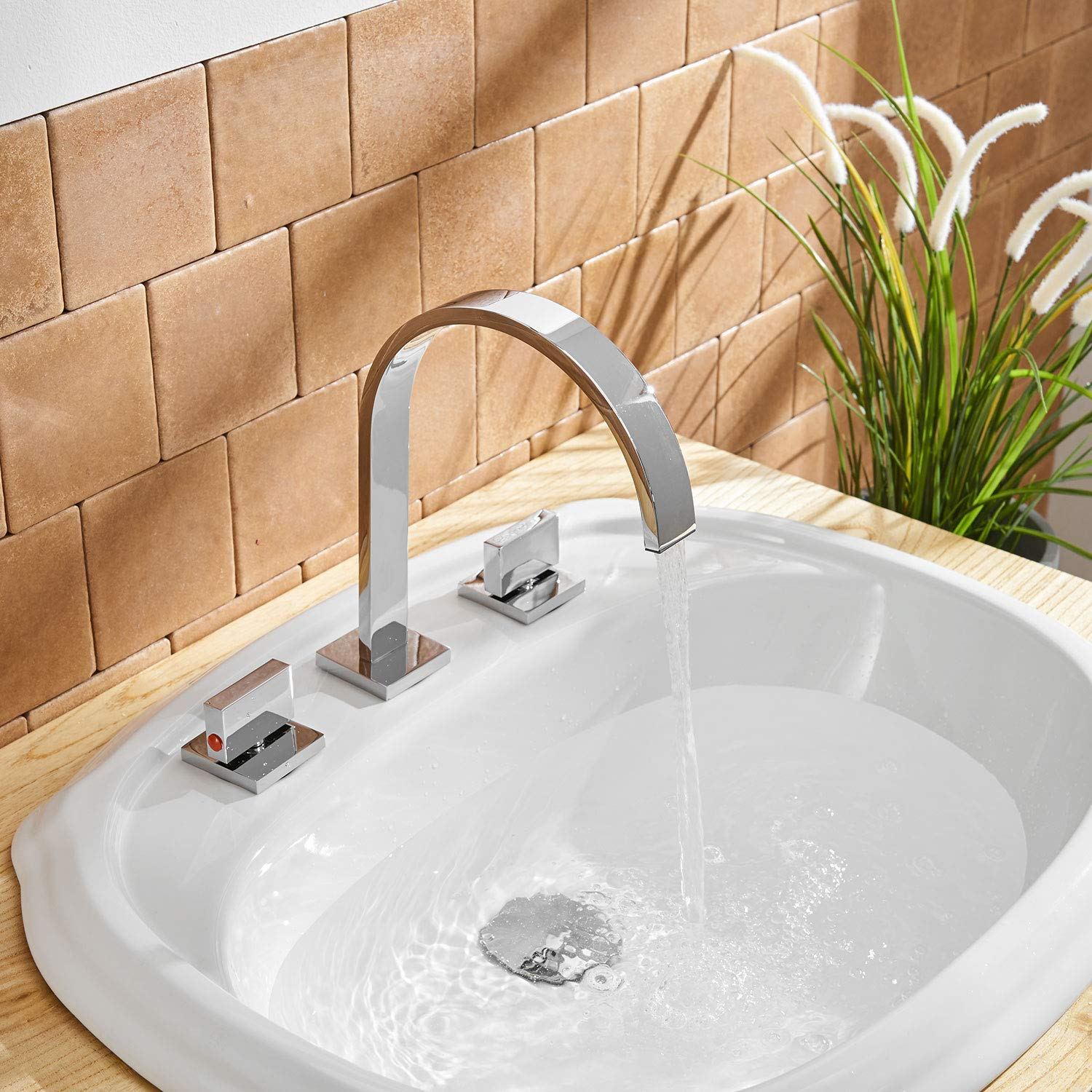 Aquafaucet Waterfall 8-16 Inch Chrome Finish 3 Holes 2 Handles Widespread Bathroom Sink Faucet Commercial
