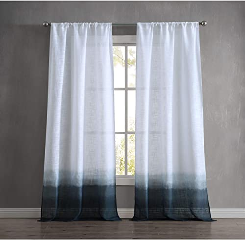 French Connection Dip Dyed Olivia Window Curtain, 76 in. x 96 in. 2-Piece Set, Indigo