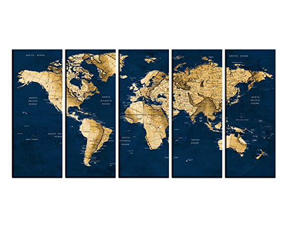 Amazon large wall art canvas framed push pin world map with large wall art canvas framed push pin world map with pins to mark travels watercolor gumiabroncs Image collections